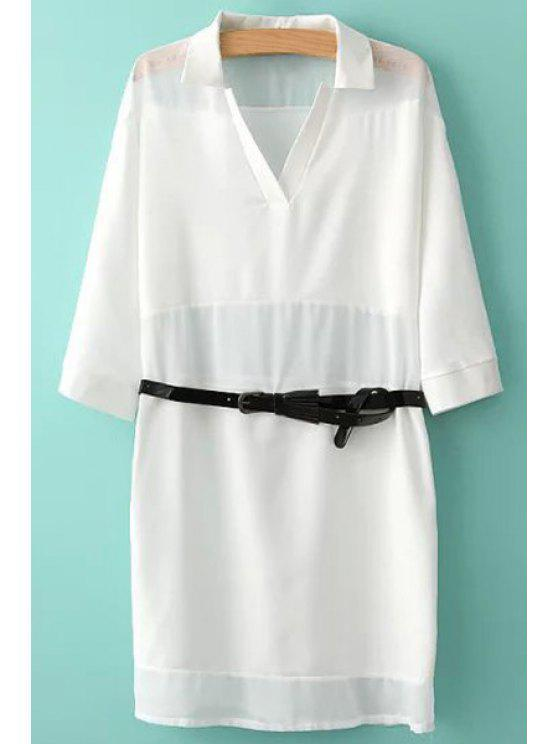 new Solid Color Belt 3/4 Sleeve Dress - WHITE S