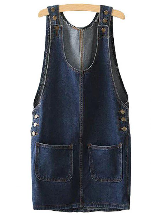 unique Pockets Buttons Denim Sleeveless Dress - DEEP BLUE S