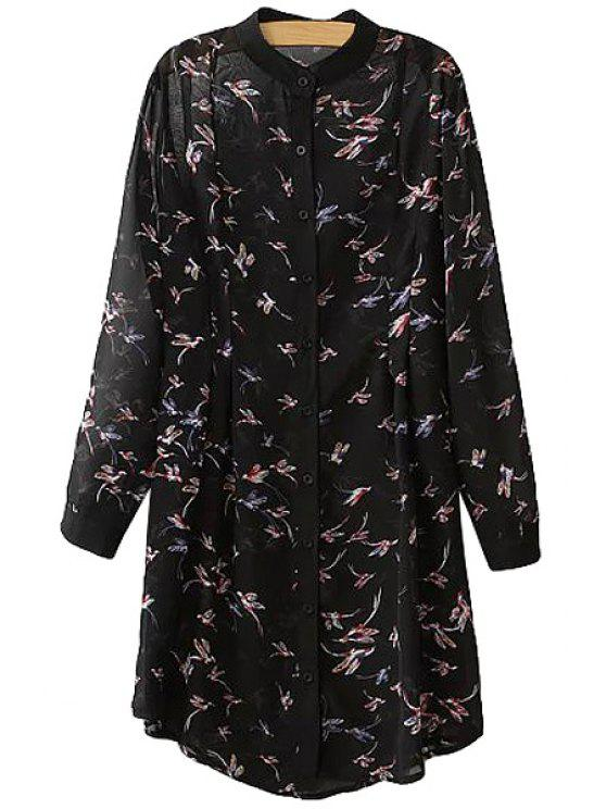 hot Round Neck Bird Print Long Sleeve Dress - BLACK M