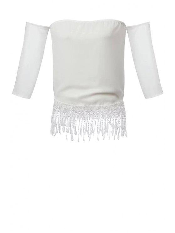 sale Strapless Solid Color Lace Tassel Splicing Blouse - WHITE M