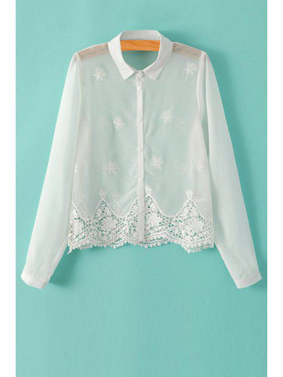 buy Embroidery Lace Splicing Long Sleeve Shirt - WHITE S