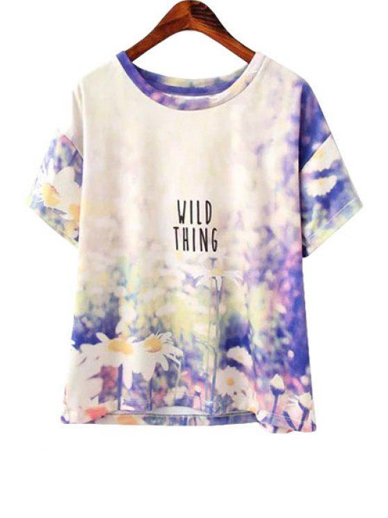 hot Short Sleeve Flower Print T-Shirt - WHITE S