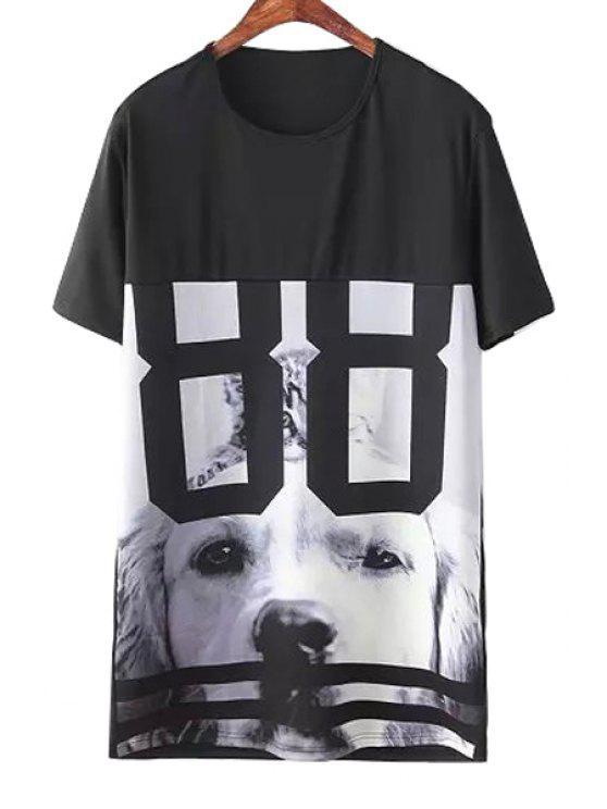 womens Dog Print Short Sleeve Dress - BLACK M