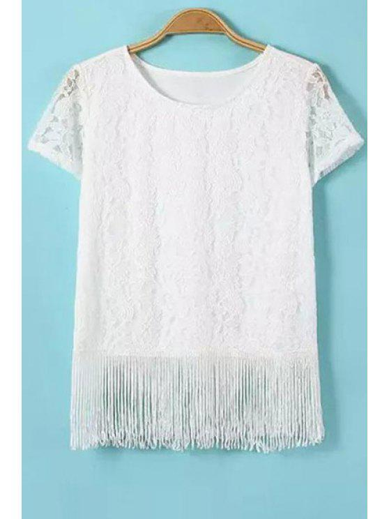 shop White Lace Tassels Short Sleeve T-Shirt - WHITE S