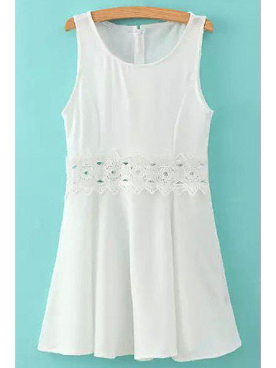 fancy Lace Splicing White Sundress - WHITE S