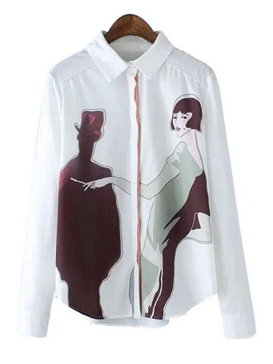 unique Shirt Neck Figure Print Shirt - WHITE S