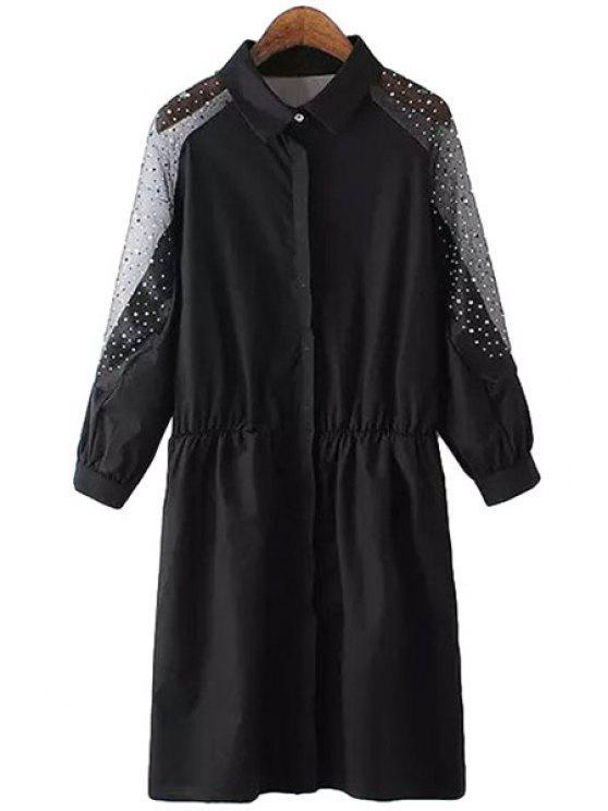 ladies Voile Spliced Rhinestone Shirt - BLACK S