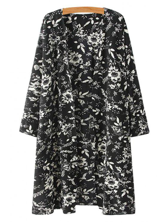 ladies Collarless Floral Print 3/4 Sleeve Coat - BLACK S