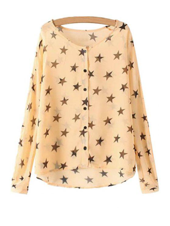 fancy Full Star Print Long Sleeves Shirt - ORANGEPINK M