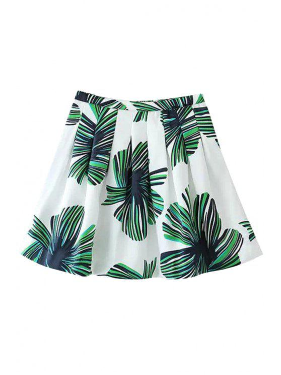 best Green Floral Print Pleated Skirt - WHITE AND GREEN S