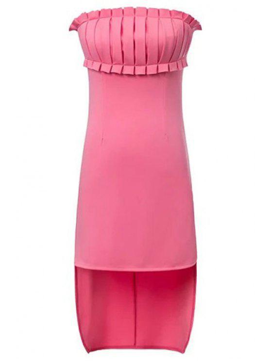 women Pink Strapless High-Low Hem Dress - PINK S