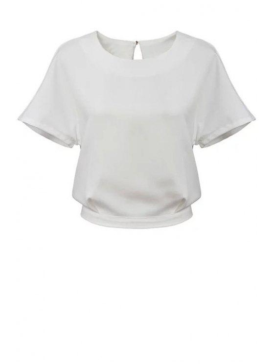 ladies White Short Sleeve Backless Blouse - WHITE S