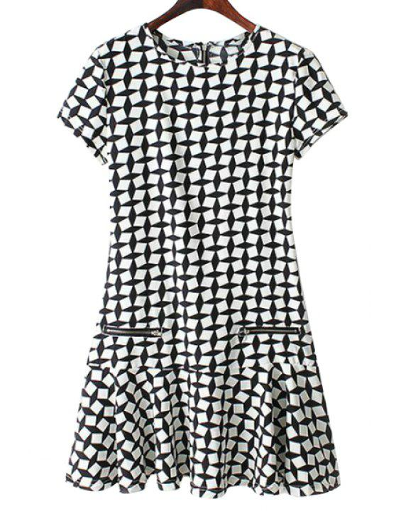 women's Plaid Zipper Embellished Short Sleeve Dress - WHITE AND BLACK S