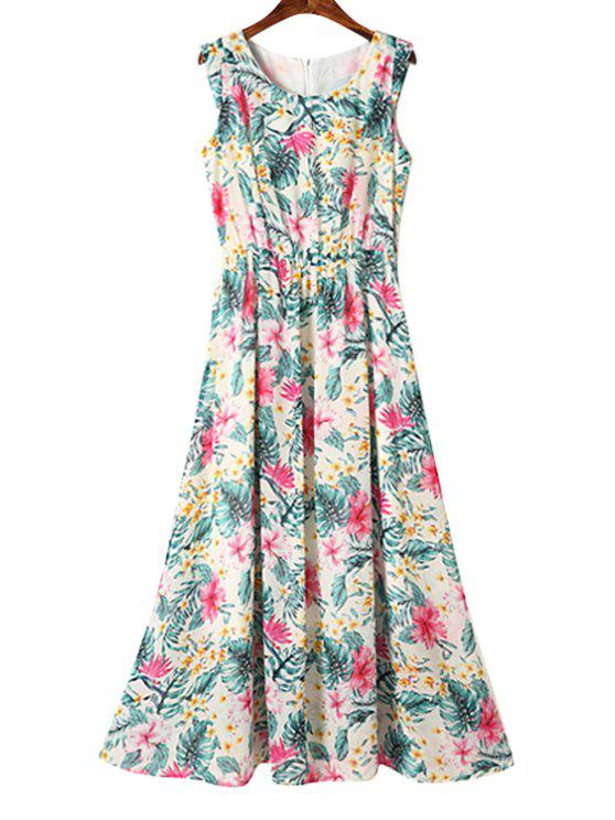 online Ruffle Floral Print Sleeveless Maxi Dress - BLACKISH GREEN S