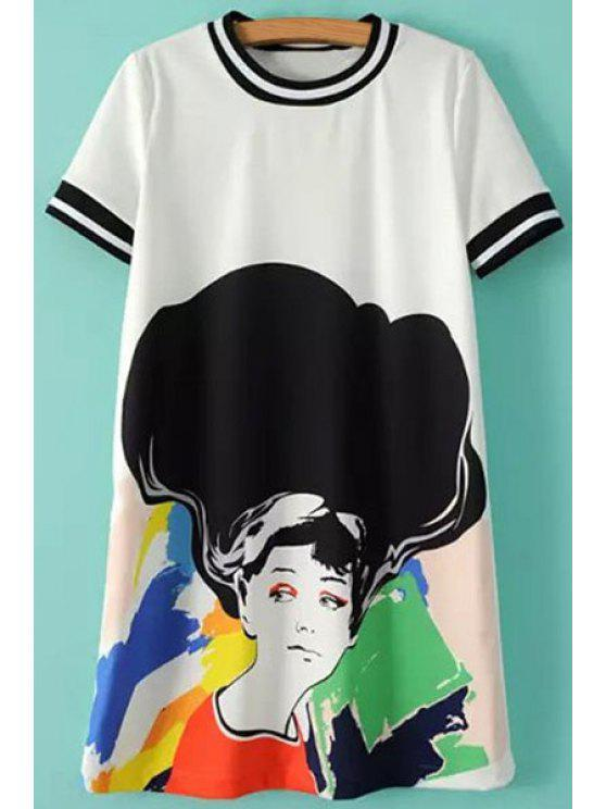 buy Colorful Figure Print Short Sleeve T-Shirt - WHITE AND BLACK S