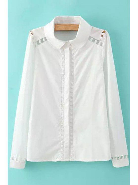 affordable White Hollow Long Sleeve Shirt - WHITE S