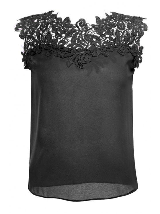 hot Jewel Neck Lace Splicing Tank Top - BLACK L