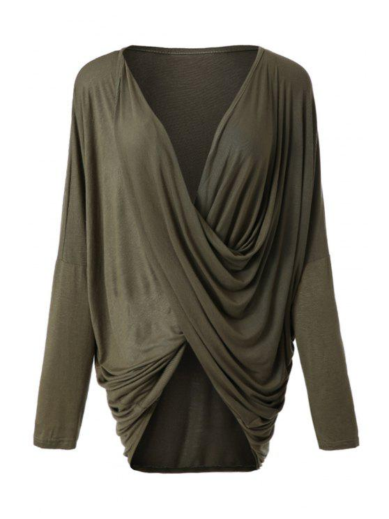trendy Irregular Design Long Sleeve T-Shirt - ARMY GREEN M