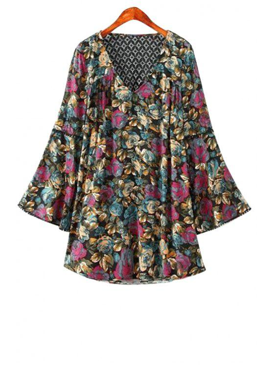 chic V-Neck Floral Print Backless Lace Splicing Dress - COLORMIX M