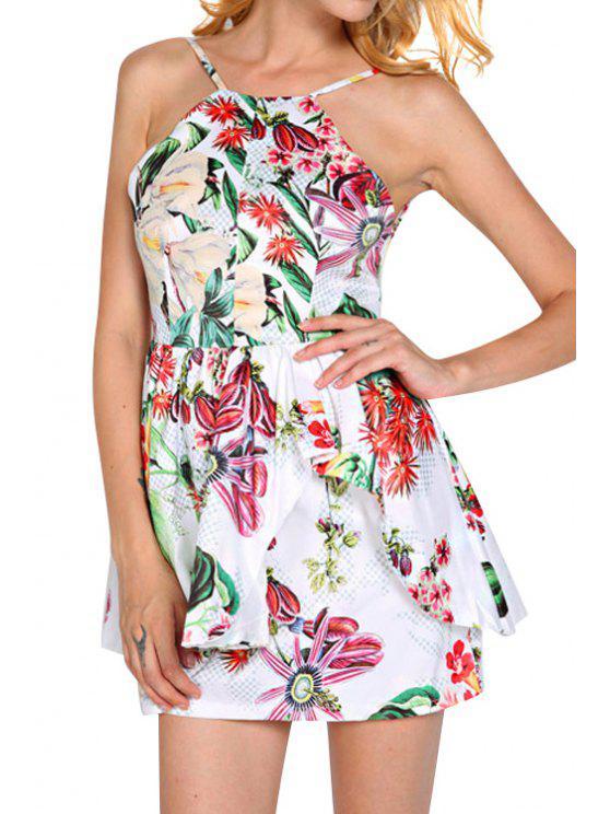 sale Backless Spaghetti Strap Floral Print Dress - COLORMIX M