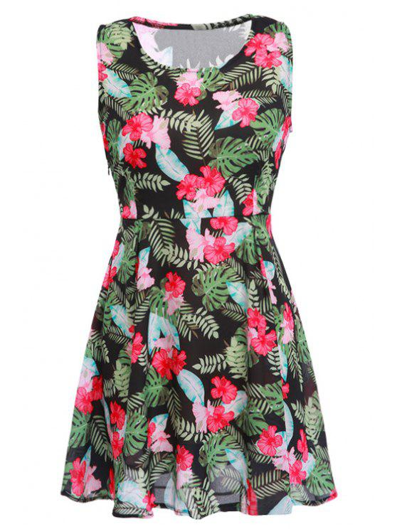 buy Red Floral Green Leaves Print Sleeveless Dress - RED AND GREEN S