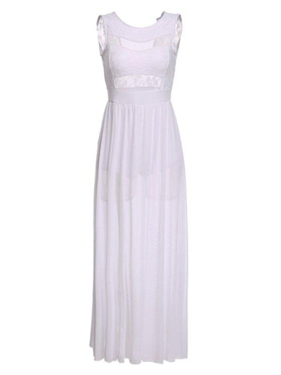 women's See-Through Slit Lace Splicing Dress - WHITE S