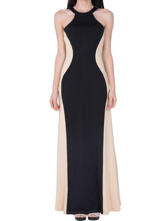 shops Color Block Sleeveless Maxi Dress - BLACK S