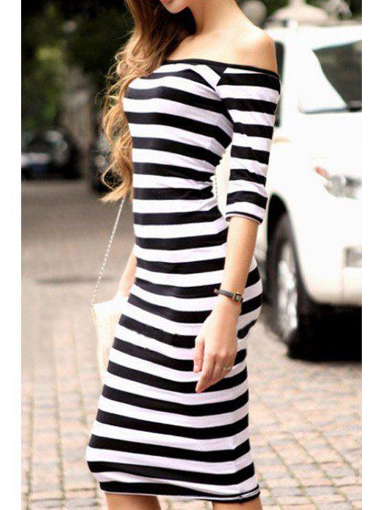 affordable Stripe Half Sleeve Dress - BLACK S