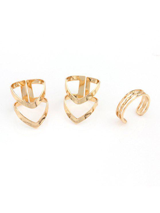 sale 3PCS Chic V Shape Rings For Women - GOLDEN ONE-SIZE