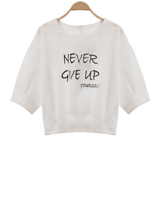 Carta Imprimir Branco 3/4 de t-shirt - Branco S