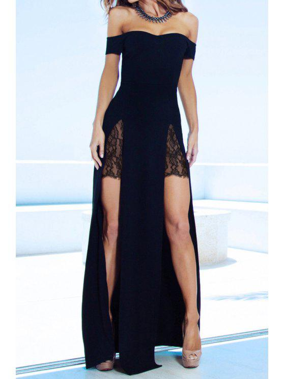 womens Slash Neck Lace Splicing Slit Dress - BLACK M