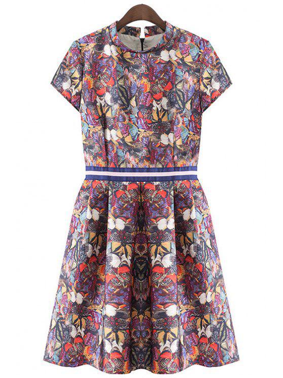 online Short Sleeve Butterfly Print Dress - PURPLE S