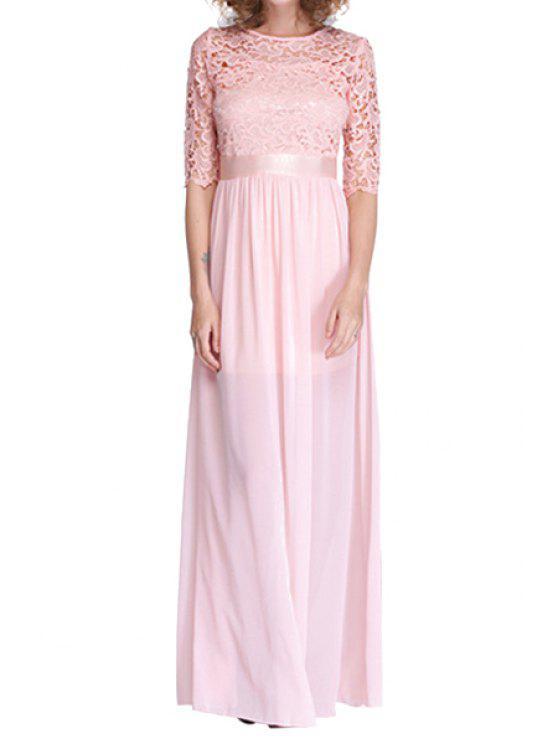 lady Chiffon Lace Splicing Half Sleeve Maxi Dress - SHALLOW PINK S