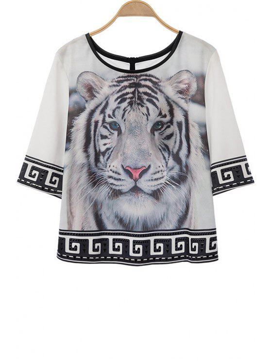new Half Sleeve Tiger Print T-Shirt - WHITE AND BLACK S