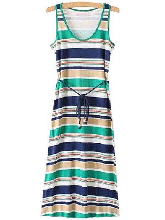 unique Striped Lace-Up Maxi Sundress - STRIPE S