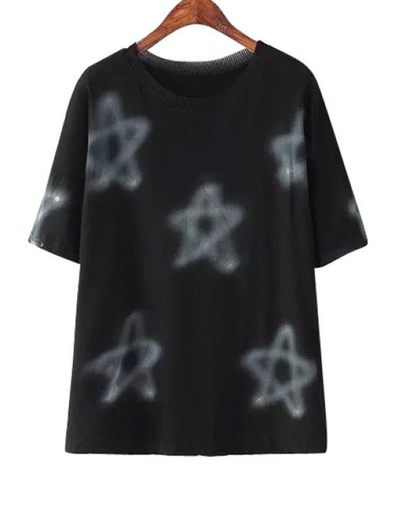 womens Star Print Short Sleeve T-Shirt - BLACK ONE SIZE(FIT SIZE XS TO M)