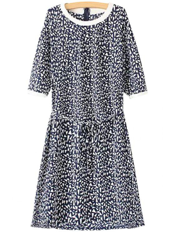 outfit Argyle Print Half Sleeves Dress - BLUE AND WHITE S