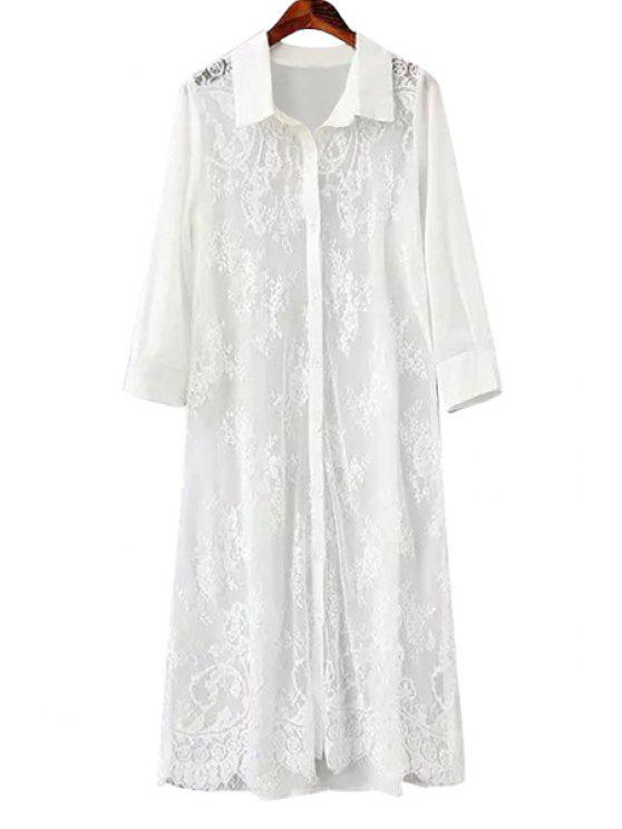 outfit Turn-Down Collar Lace Splicing Openwork Shirt - WHITE M