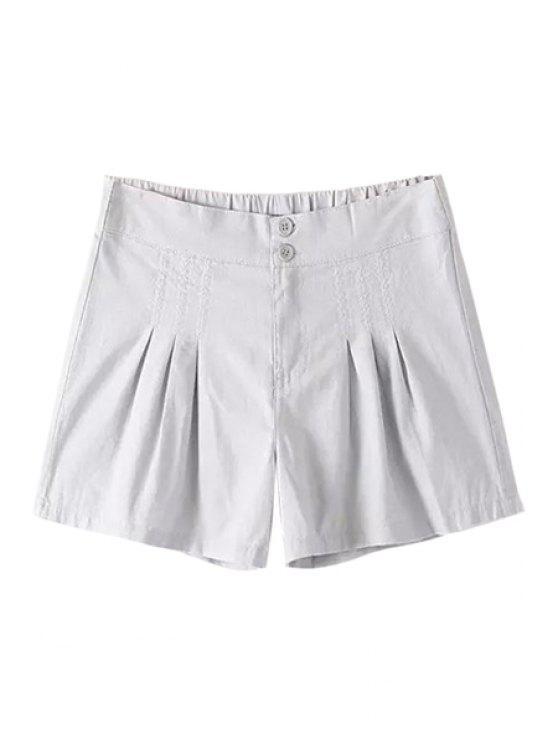 best Solid Color Linen Shorts - GRAY S