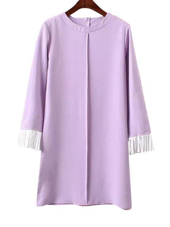 new Ruffle Color Block Long Sleeve Dress - PURPLE S