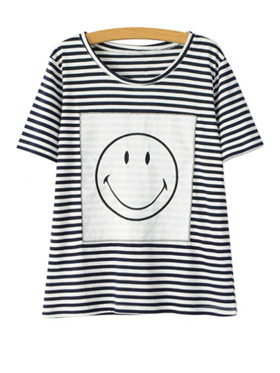 womens Striped Smiley Face Short Sleeve T-Shirt - STRIPE M