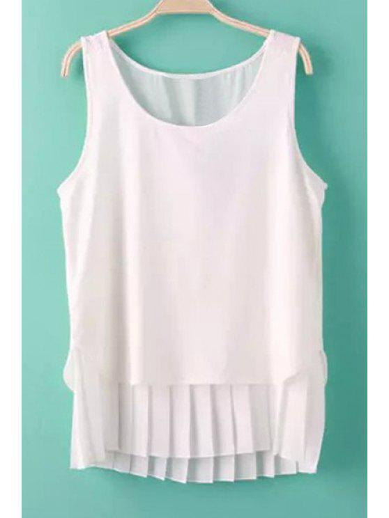 ladies Ruffle Solid Color Sleeveless Tank Top - WHITE S