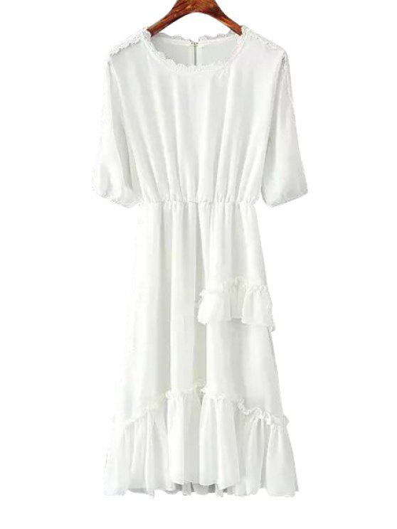sale Solid Color Lace Flounce Splicing Dress - WHITE ONE SIZE(FIT SIZE XS TO M)