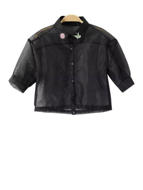 hot Voile See-Through Short Sleeve Shirt - BLACK S