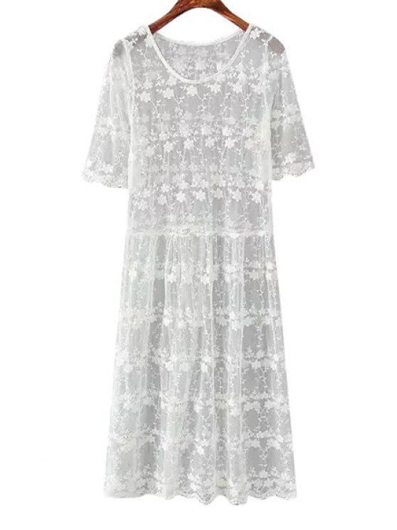 outfit See-Through Floral Pattern Lace Half Sleeve Dress - WHITE ONE SIZE(FIT SIZE XS TO M)