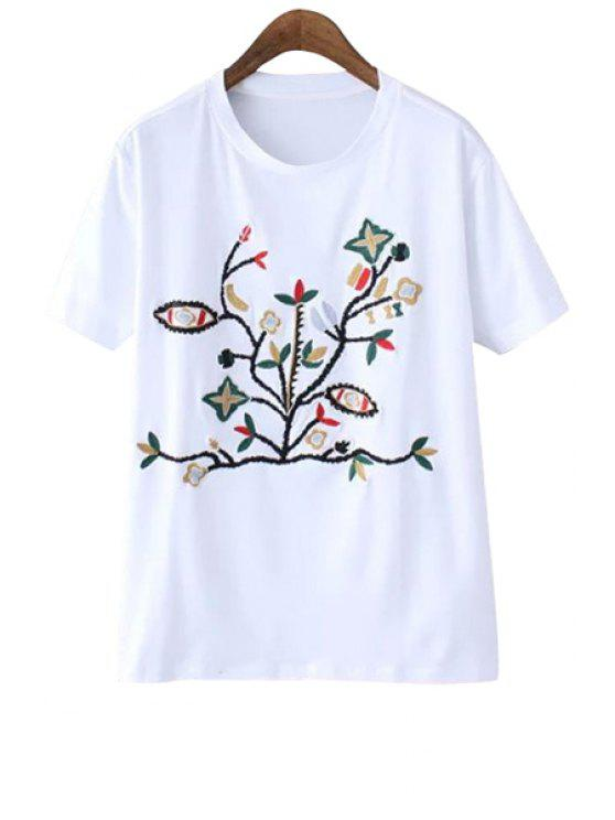 outfit Floral Embroidery Short Sleeve T-Shirt - WHITE S