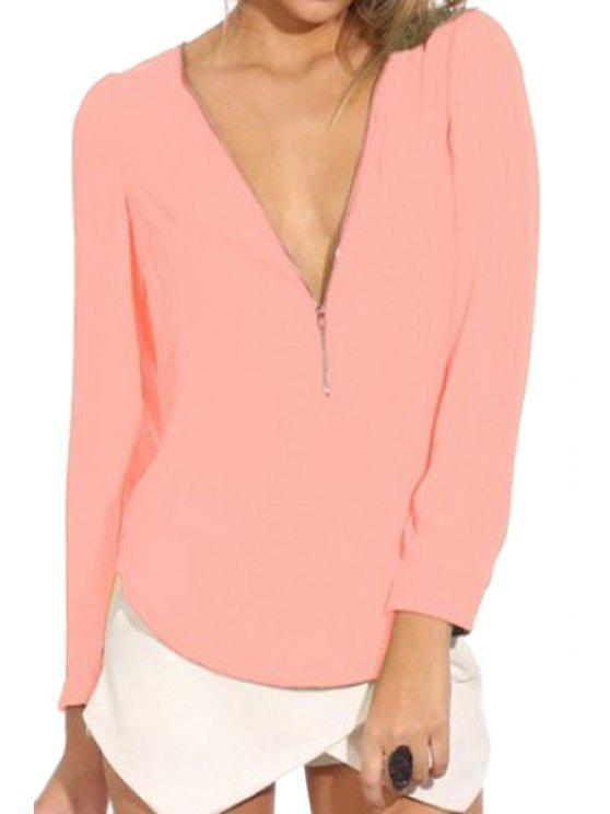 ladies Solid Color Plunging Neck Zipper Blouse - PINK S