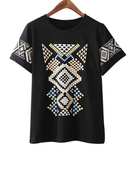 chic Colorful Geometric Print Short Sleeve T-Shirt - BLACK S