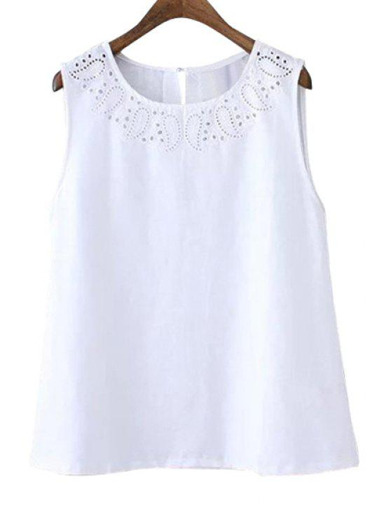 outfits Solid Color Openwork Sleeveless Tank Top - WHITE S