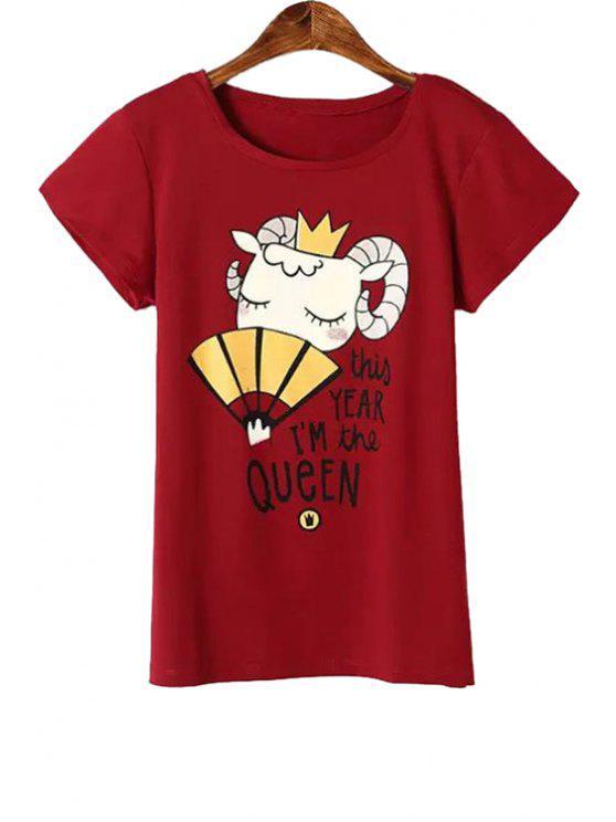 unique Cartoon Goat Print Short Sleeve T-Shirt - RED L
